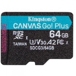 Карта памяти Kingston 64GB microSD class 10 UHS-I U3 A2 Canvas Go Plus (SDCG3/64GBSP)